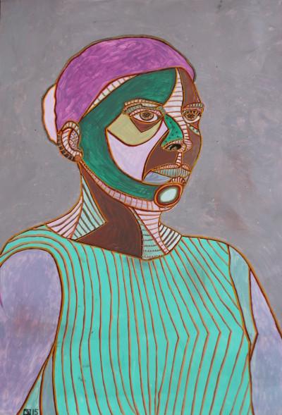 Selbstportrait mit Dutt, Öl auf Karton, 42 cm x 63 cm