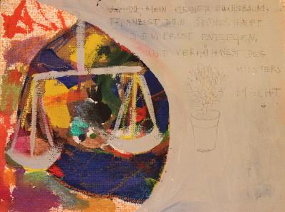 """Secret Paintings 24/29: Buchs, Mischtechnik auf Spanplatte, 29 x 39 cm, 2015,  """"Nur du, mein kleiner Buchsbaum, pflanzest Dein grünes Haupt Dem Frost entgegen, und verhöhnest Des Winters Macht."""" Ludwig Heinrich Christoph Hölty"""