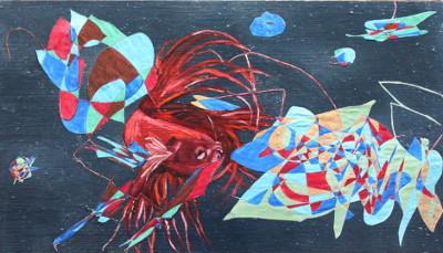 Lampionfisch und Roter Betta; Acryl, Öl und Collage auf Holz, 29 cm x 50 cm