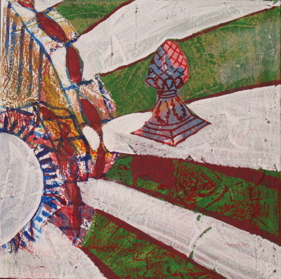 Secret Paintings 15/29: Brücke, Mischtechnik auf Leinwand, 30 x 30 cm
