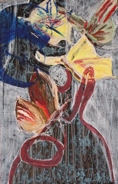Secret Paintings 6/29: Schmetterlinge, Mischtechnik auf Spanplatte, 36 x 56 cm