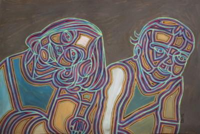 Zwei Mädchen, 2015, Öl auf Karton, 38 cm x 58 cm