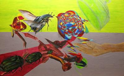 Entenvogel und Braunkehlchen und die Goldkäfer - Acryl auf Holz; 64 cm x 40 cm