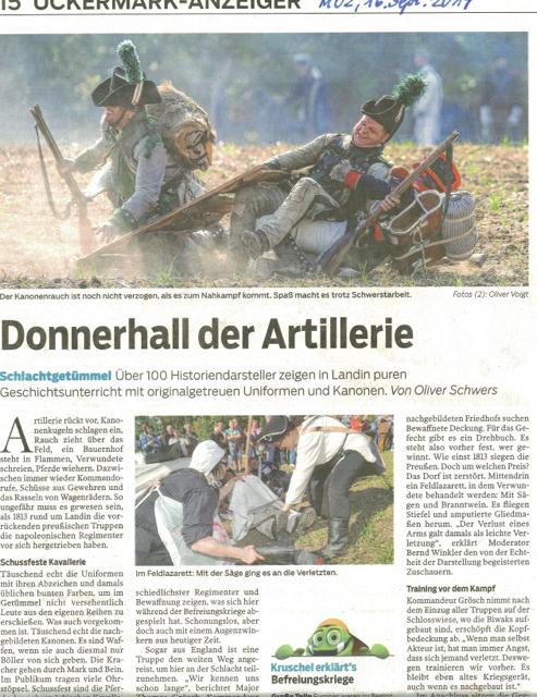 Bernd Winkler Kerkow, Landin, Dorffeste Uckermark, Befreiungskriege, Donnerhall, www.moz.de, Garde Artillerie