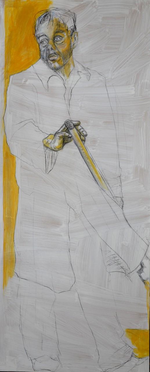 Painter 2, 140 x 70 cm, Kohle, Acryl auf MDF-Platte, 2012