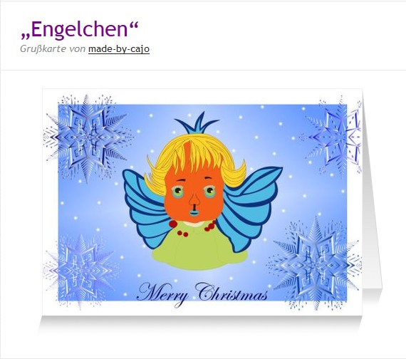 Engel als Postkarte