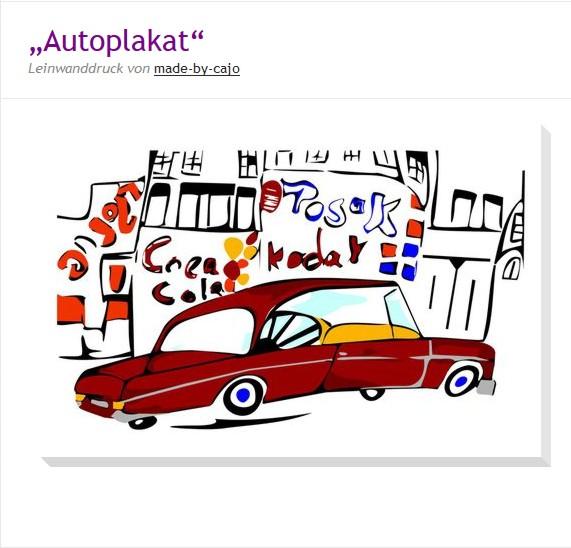 Autoplakat als Leinwanddruck