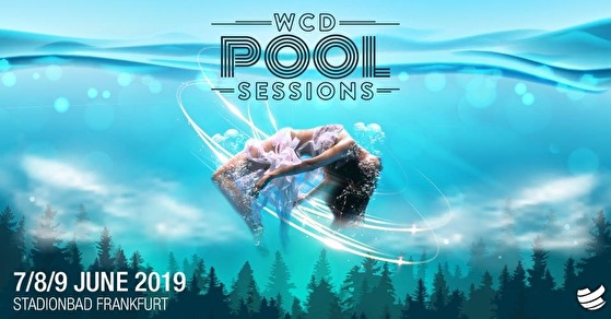 WCD 2019, Bühne, Poolsessions, Stadionbad Frankfurt, Open Air Bühne