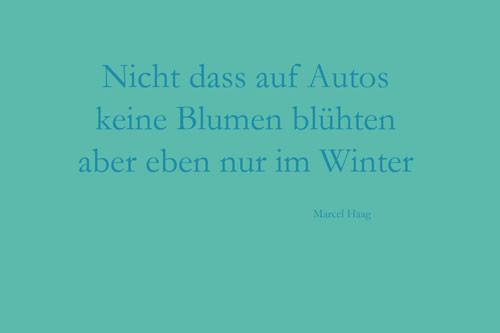 Deutsche Poesie - Nicht dass auf den Autos - Marcel Haag