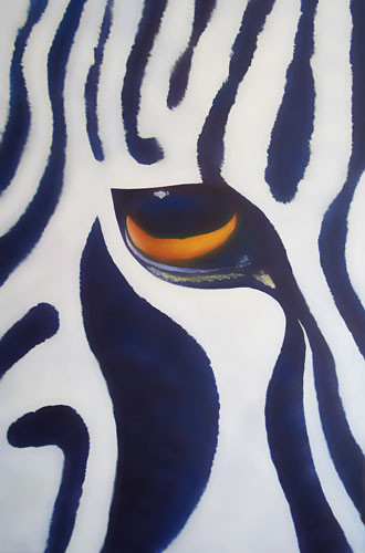 Zebra, Öl auf Leinwand