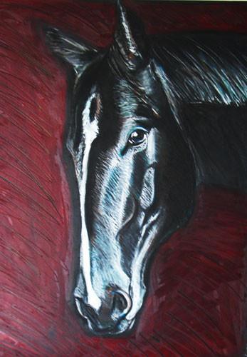 Pferd mit sanftem Blick, Mischtechnik auf Papier