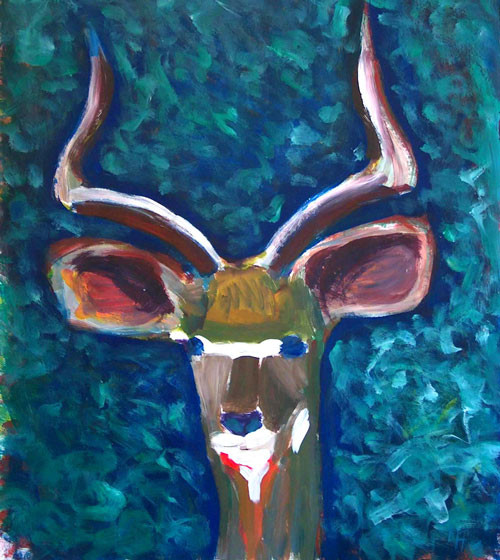 Gazelle, Öl auf Leinwand
