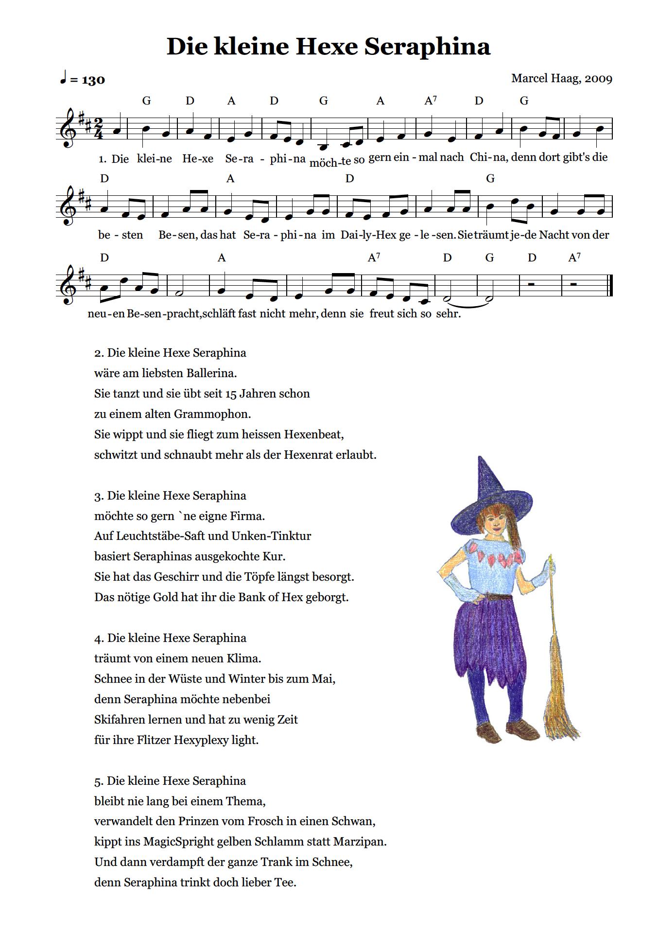 Die kleine Hexe Seraphina by Marcel Haag - Lyrics und Noten
