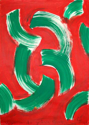 Vogel in der grünen Klemme, Acryl auf Papier