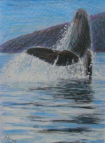 Bucht der Wale, Mischtechnik auf Papier