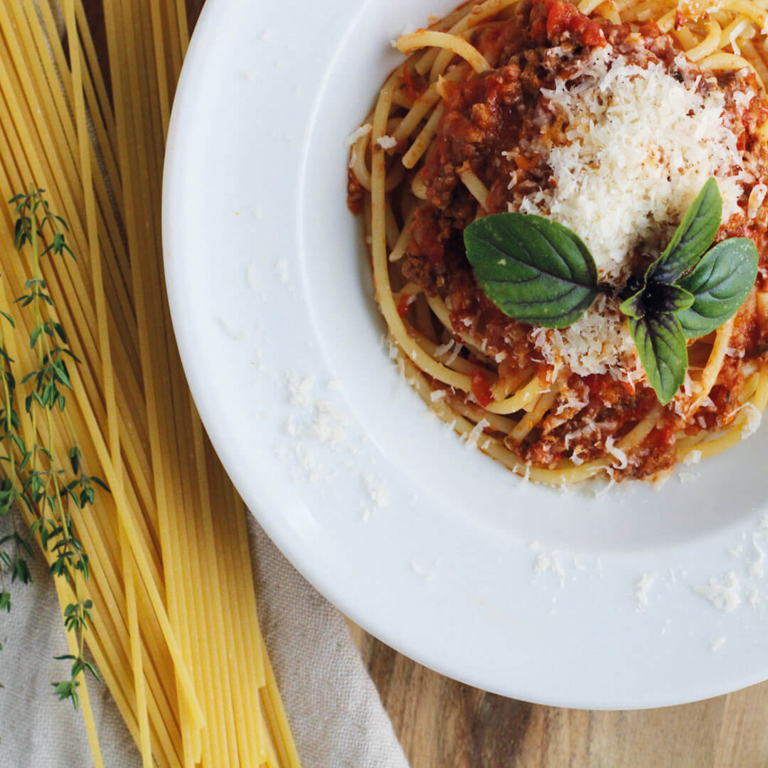 Spaghetti mit Rinderhackfleisch Soße