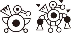 缶バッジ用アレンジ(右)とオリジナル版(左)