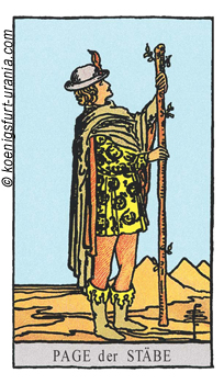 Der Bube der Stäbe, Waite-Smith Tarot