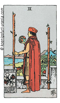 2 der Stäbe, Waite-Smith Tarot