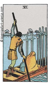 6 der Schwerter, Waite-Smith Tarot