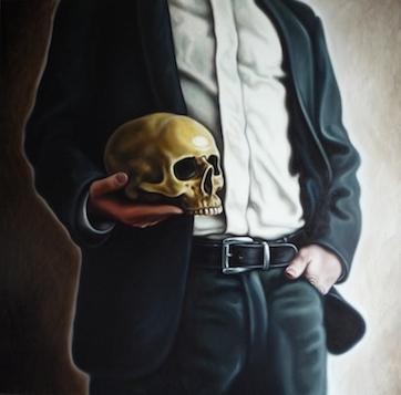 Mann mit Schädel II, 190x190cm, Öl auf Leinwand, 2012