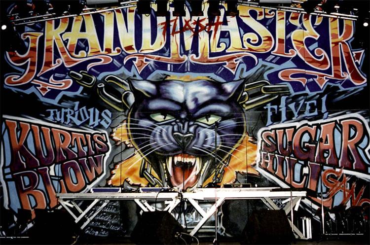 Gestaltung Bühnenbild für Grandmaster Flash, Spraydose auf Pavatex