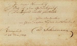 Autograph Daniel Schürmanns vom 26.11.1813