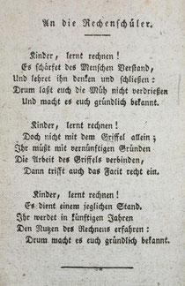 Vorspruch Daniel Schürmanns zum Rechenbuch von 1801, 2. Auflage, 1804