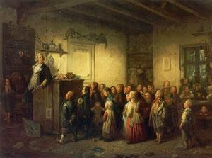 Der in Remscheid geborene Maler Johann Peter Hasenclever (1810-1853) versucht in diesem um 1853 entstandenen Bild die Situation in einer Volksschule am Beginn des 19. Jahrhunderts zu beschreiben, wie sie auch Schürmann beklagte.