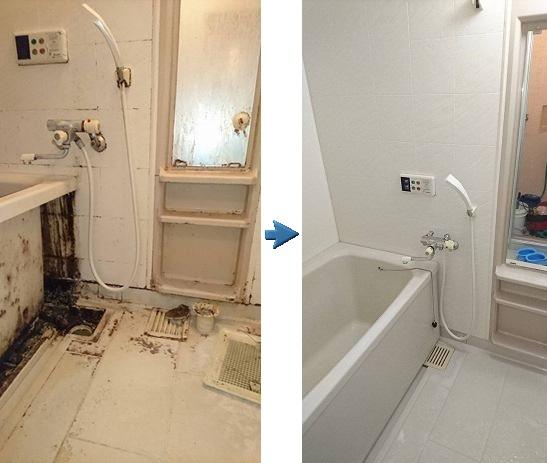 撮影アングルが違いますが、なんと同じお風呂のビフォーアフタの違いです。 浴槽のフロントパネルも外して内部洗浄も行いました。