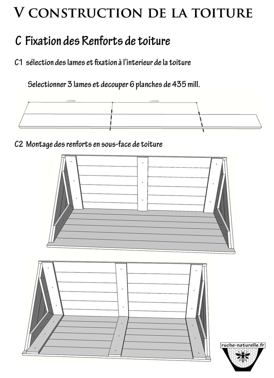 Plan ruche en palettes,  renforts de la toiture.