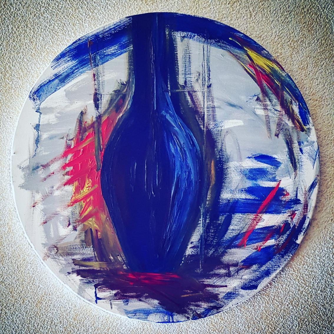 Blaue Flasche, Öl auf Leinwand