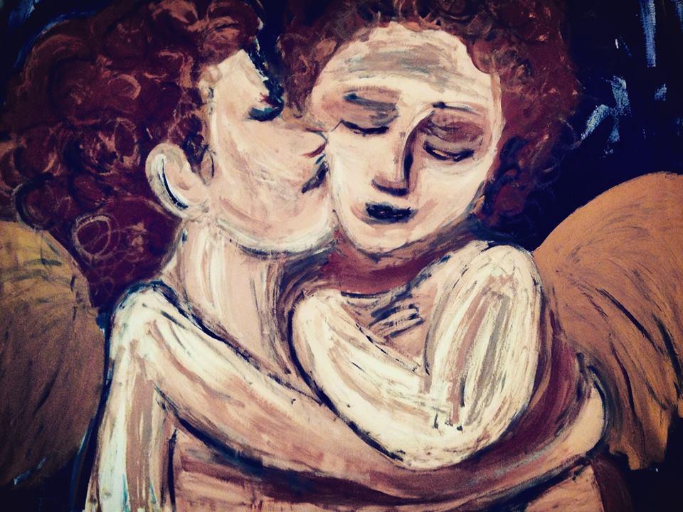 Re: The 1st kiss, Öl u. Metallicfarbe auf Leinwand, 100/100