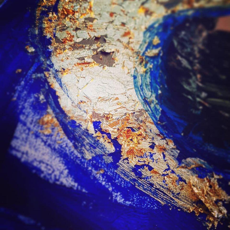 Detail Portrait Dogan, Blattgold auf Öl, 2018