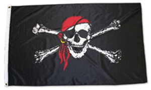 Red scarf Jolly Roger Pirate flag