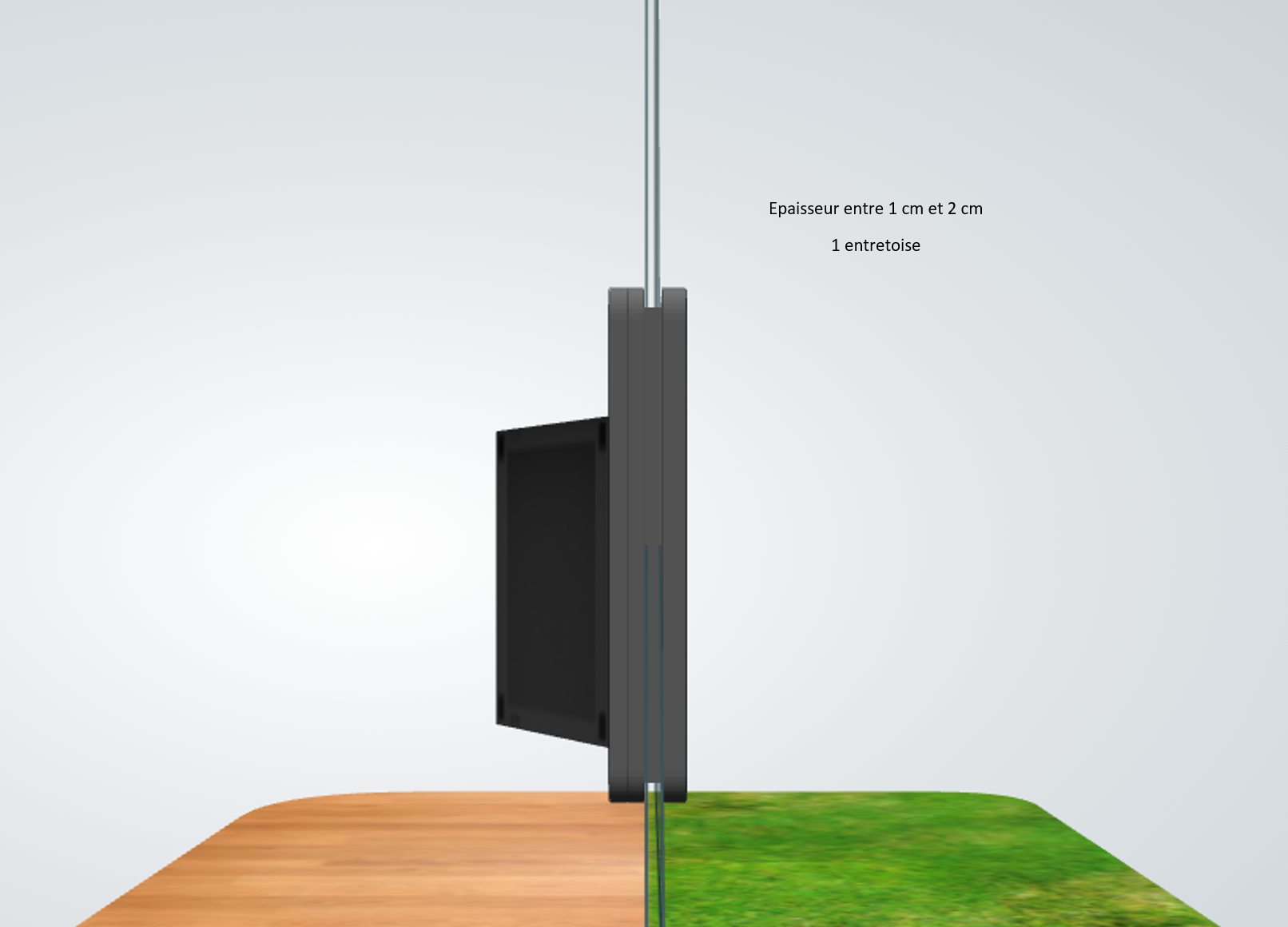 porte automatique odomestic entretoise épaisseur entre 1 cm et 2 cm