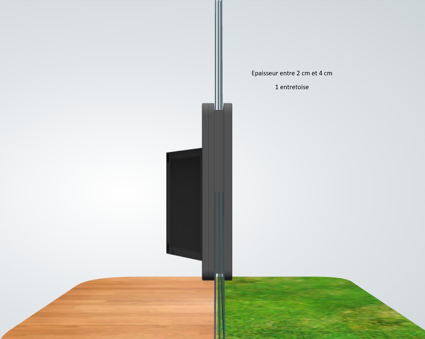 porte automatique odomestic entretoise épaisseur entre 2 cm et 4 cm