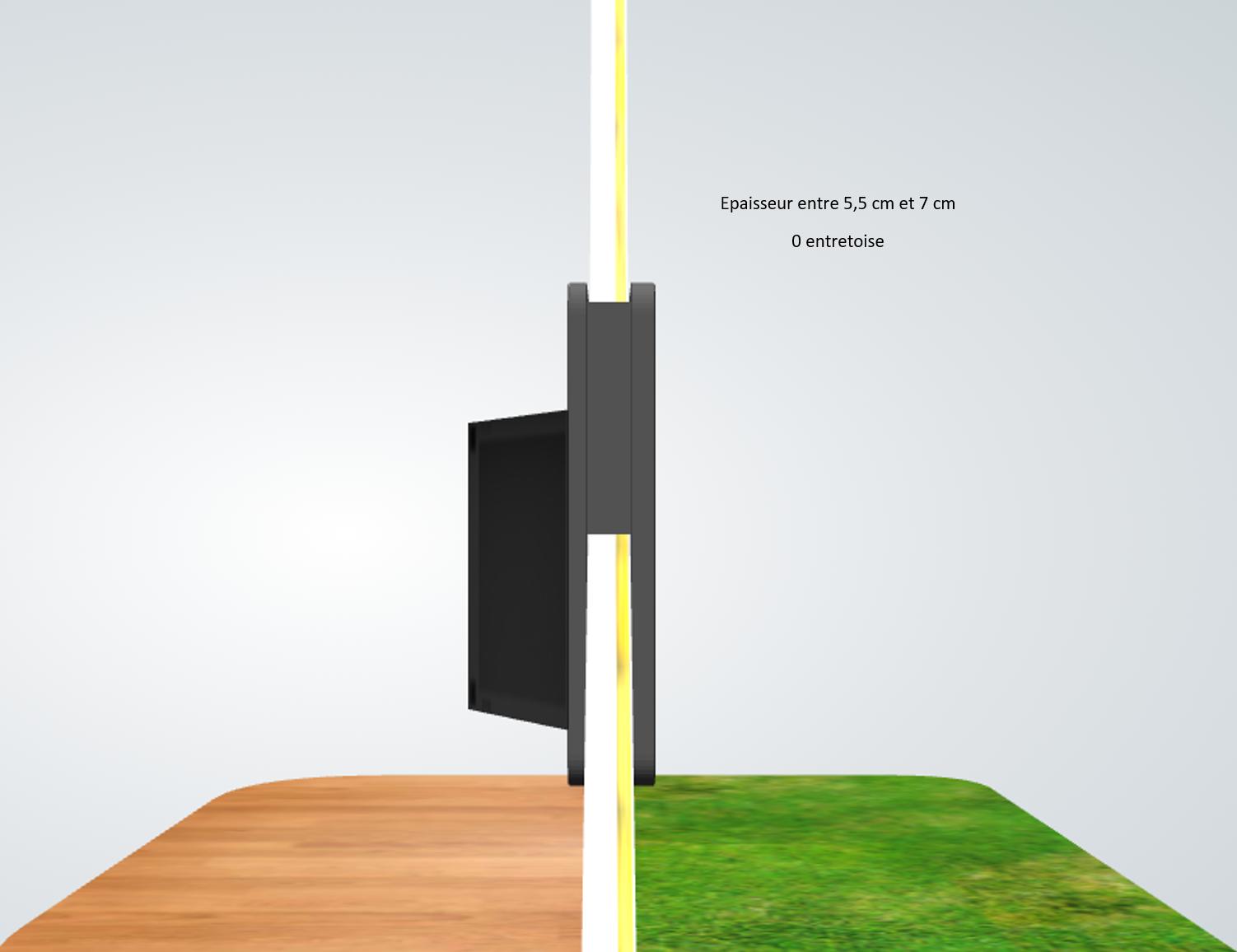 porte automatique odomestic entretoise épaisseur entre 5.5 cm et 7 cm