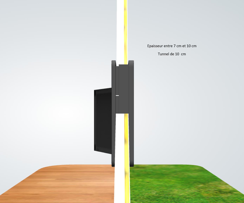 porte automatique odomestic entretoise épaisseur entre 7 cm et 10 cm