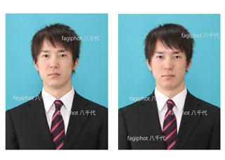 就活写真・左側ビフォー、右側アフター