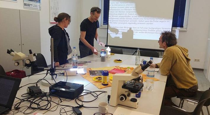 Esel-Workshop | Theorie mit Mikroskop während des Kurses Endoparasiten erkennen