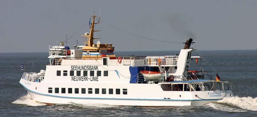 MS Flipper auf dem Weg zur Insel Neuwerk