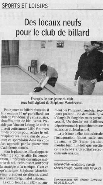 Article Nouvelle République - Mars 2008