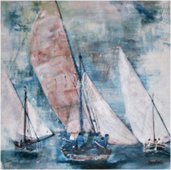 """Regatta Lateinersegel"",  Acryl a. Segel, 80 x 80, Kat.-Nr. 03214"