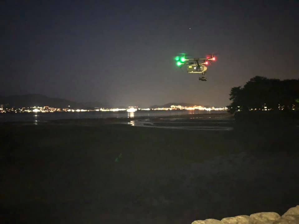 ドローン空撮最終カットは夜景で