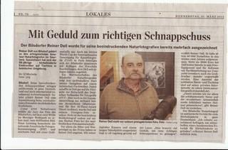 Zeitungsbericht zu Reiner Dell aus der Saarbrücker Zeitung