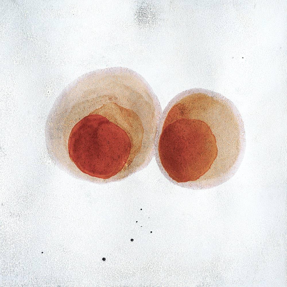 Malerei auf Monotypiedruck, 34,5 x 34,5 cm, Schellack, 2018