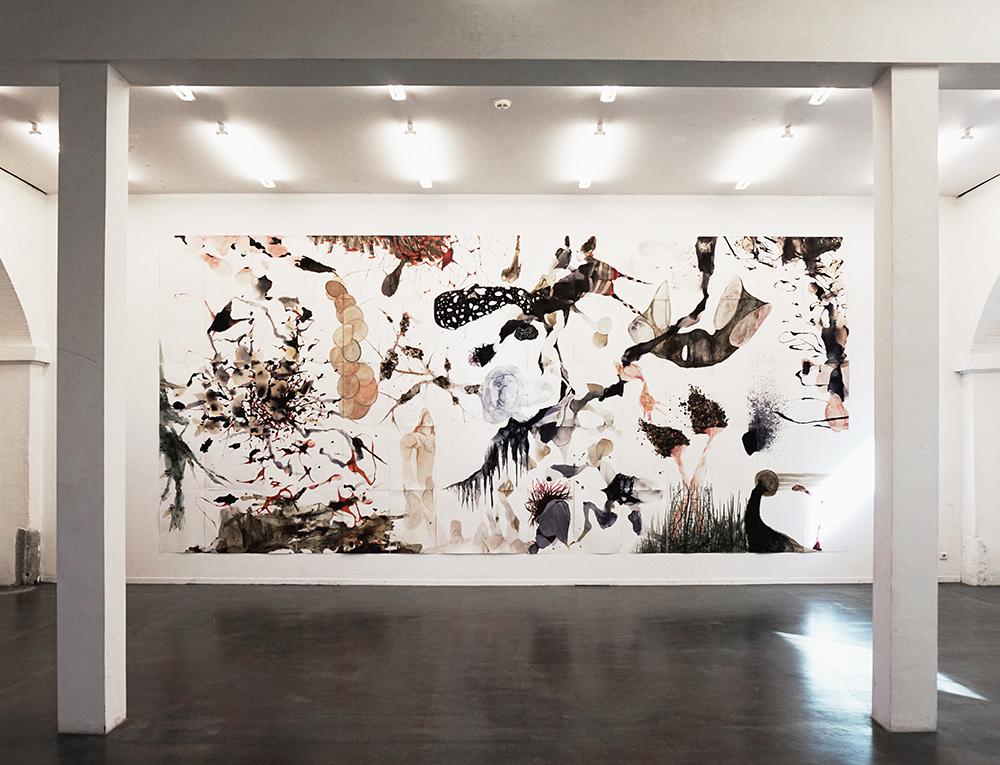 Kleines All - Mischtechnik auf Karton - 350 x 700 cm - 2016/2017 - Ausstellungsansicht Kunstraum 2016/2017