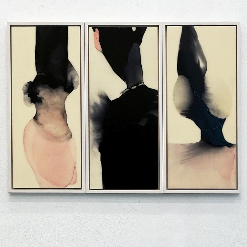 Wucherungen I-III Triptychon,  je 55 x 23 cm, Schellack, Klavierlack, Pigment auf Acryl, 2016