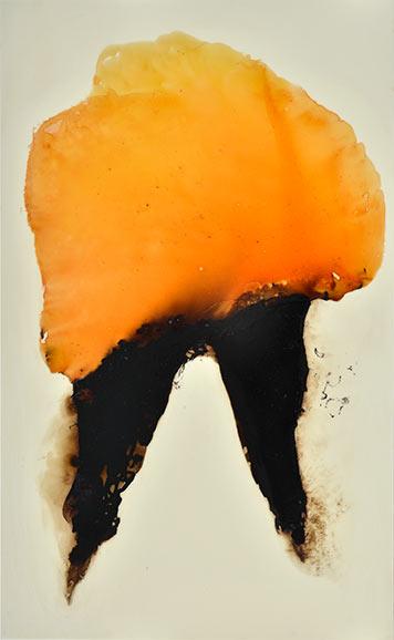 Fliehender, 110 x 167 cm, Schellack, Klavierlack auf Acryl, 2016